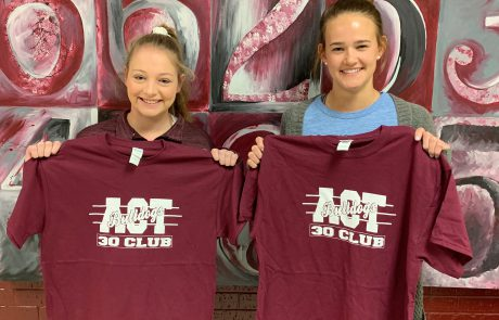 New Albany High School presented ACT 30+ Club t-shirts to Maggie Scott and Greta Blakemore on March 21 for their recent success on the ACT. Students who have a composite or subscore of 30 or more on their recent ACT are inducted into the club.