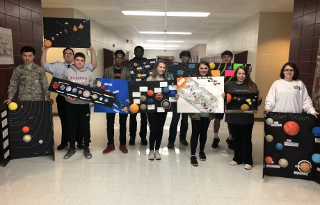 Students in Kati Kent's Earth & Space Science second semester class at New Albany High School recently studied the universe, our solar system, and stars/galaxies. Students constructed a model of the solar system as part of the unit of study.